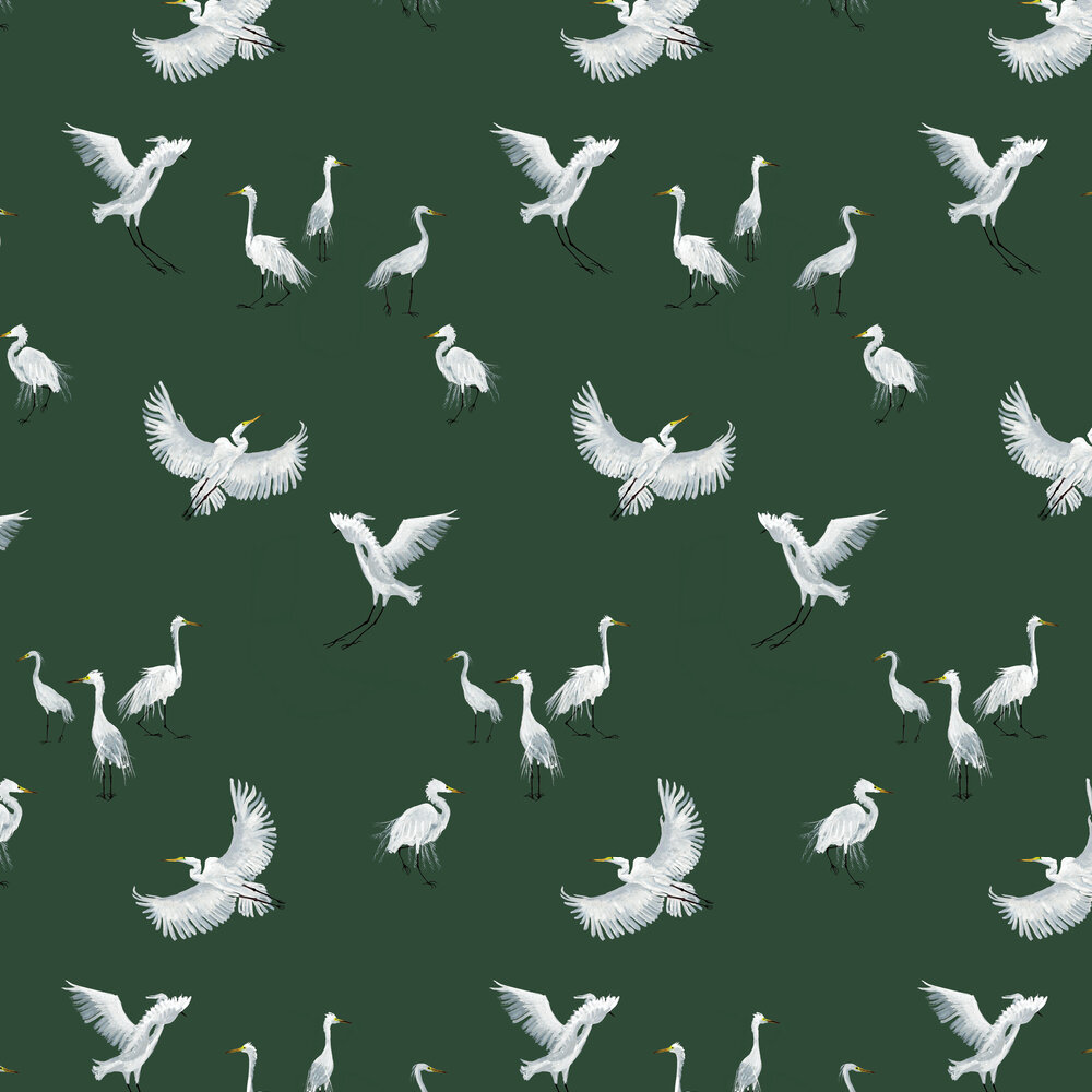 Egrets Wallpaper - Forest - by Petronella Hall