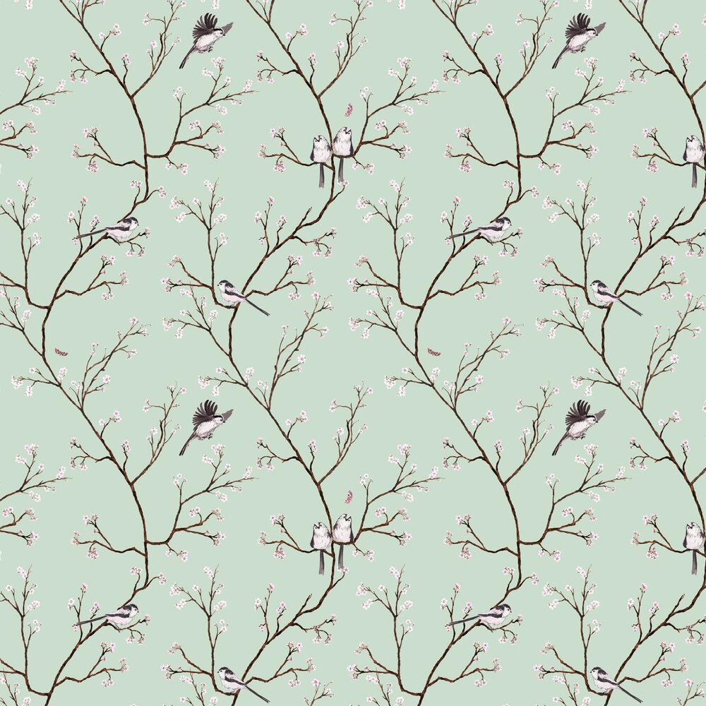 Blossom Wallpaper - Eau De Nil - by Petronella Hall