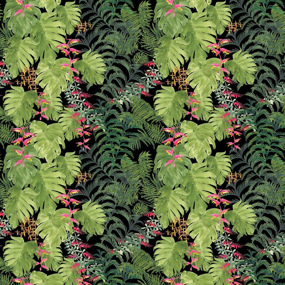 Tropics Wallpaper - Emerald / Lime - by Petronella Hall