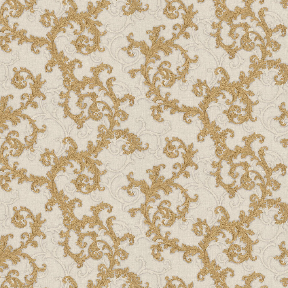 Baroque & Roll Wallpaper - Gold / White - by Versace