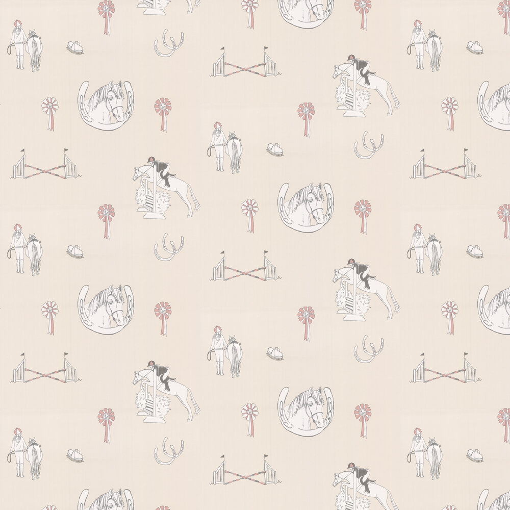 Katie Bourne Interiors Horse Tales Cream / Pink Wallpaper - Product code: H1 Horse Tales