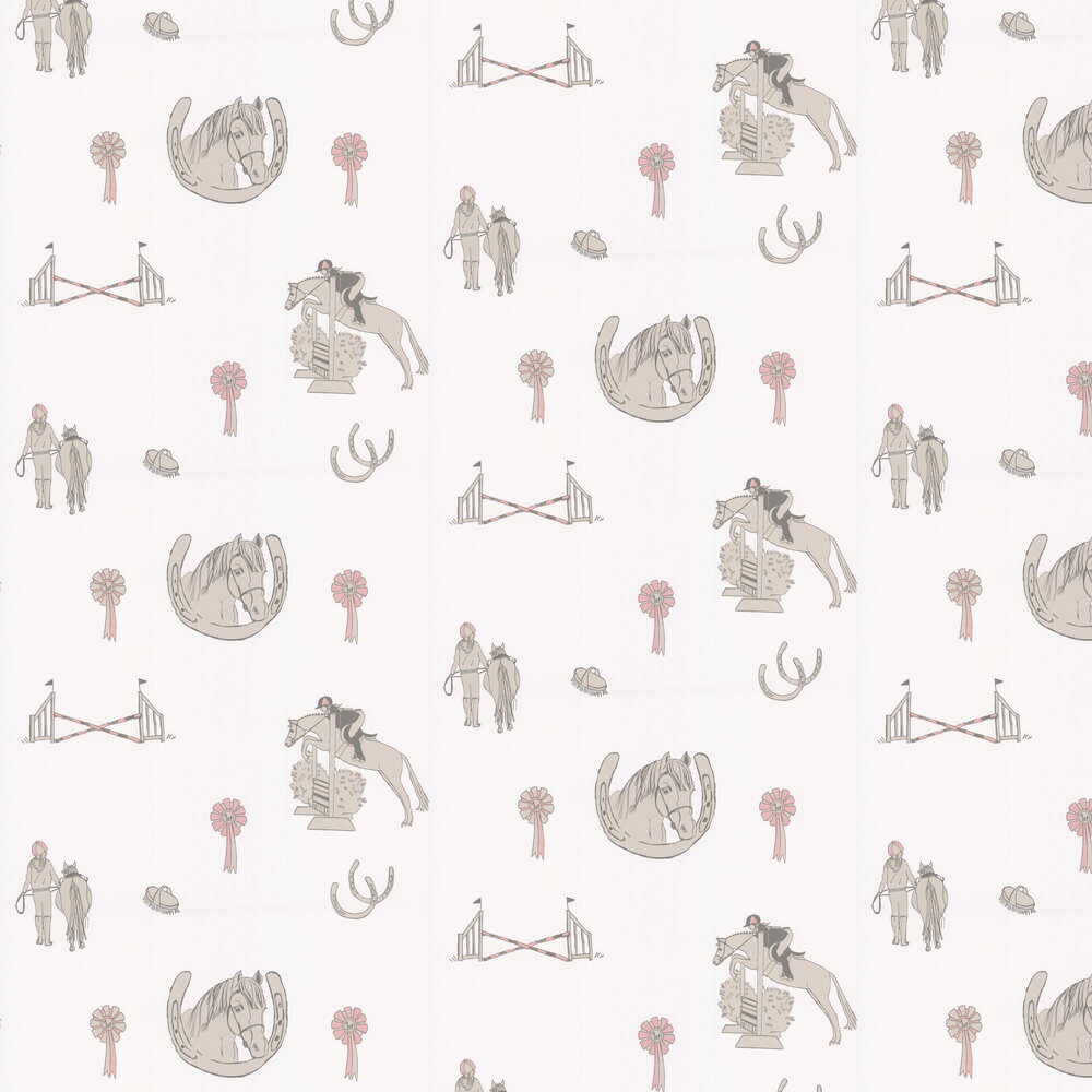 Katie Bourne Interiors Horse Tales White / Grey / Pink Wallpaper - Product code: H2 Horse Tales