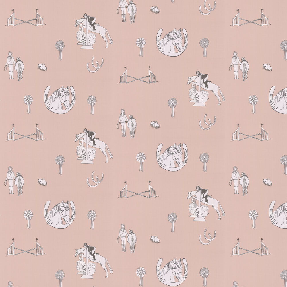 Horse Tales Wallpaper - Pink / Silver - by Katie Bourne Interiors