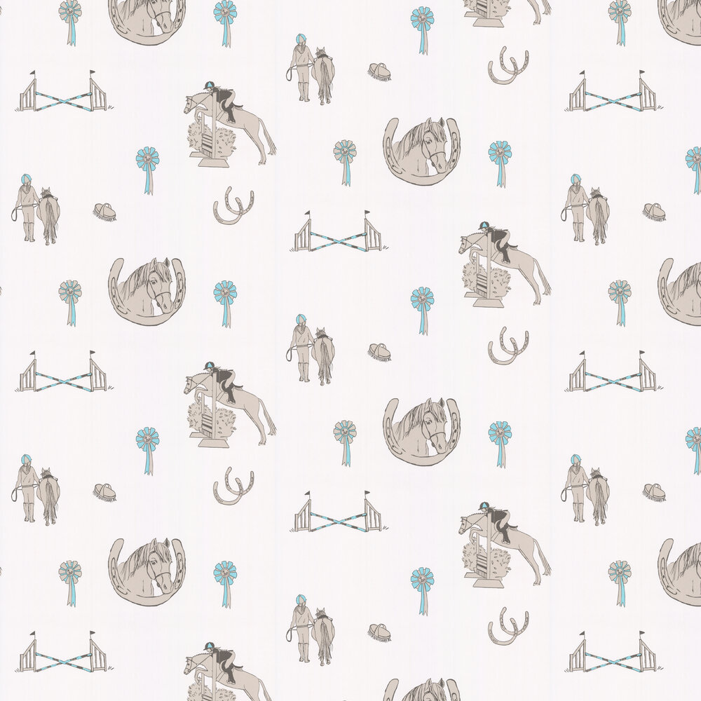 Katie Bourne Interiors Horse Tales White / Grey / Turquoise Wallpaper - Product code: H5 Horse Tales