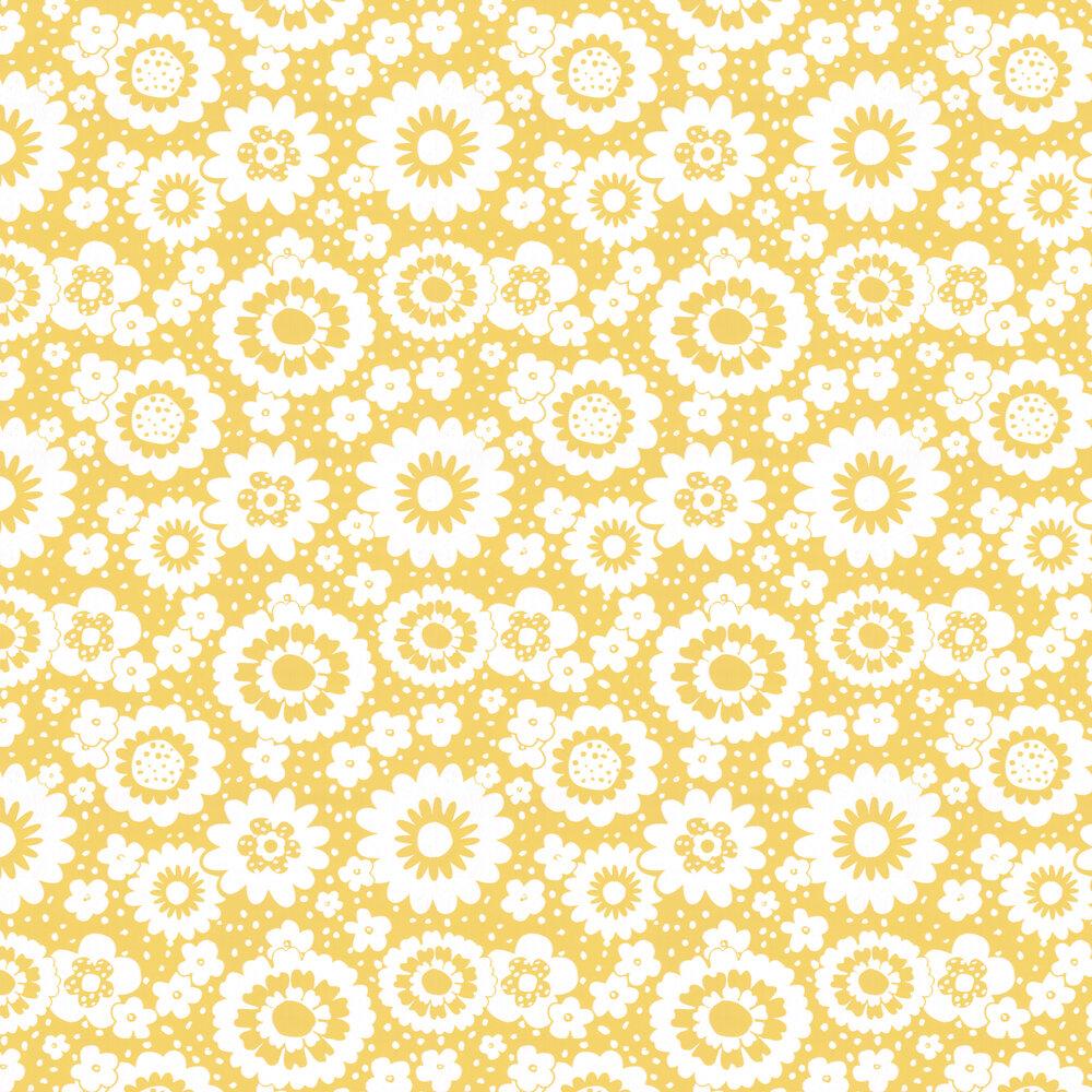 Mod Meadows Wallpaper - Buttercup Yellow - by Layla Faye