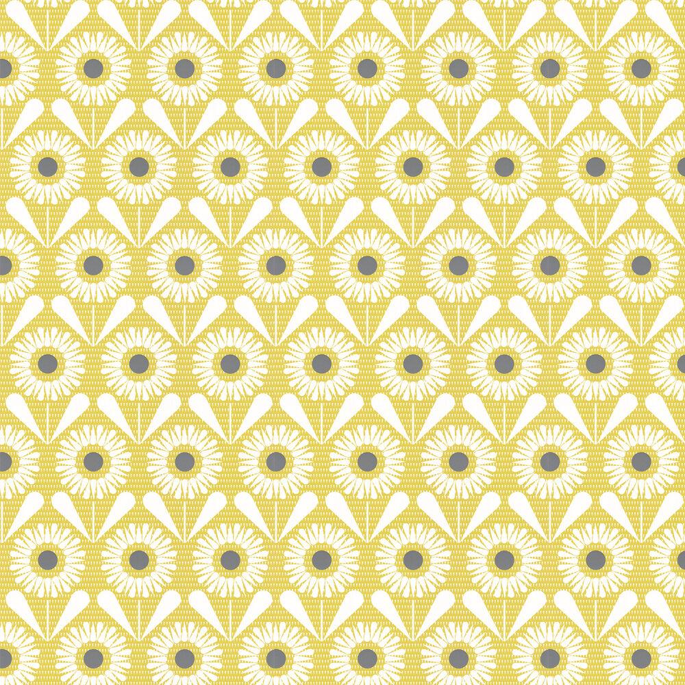 Sunny Flower Wallpaper - Olive - by Layla Faye