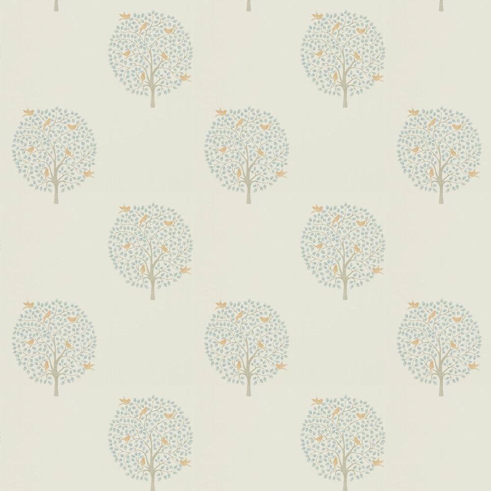Bay Tree Wallpaper - Copper / Denim - by Sanderson