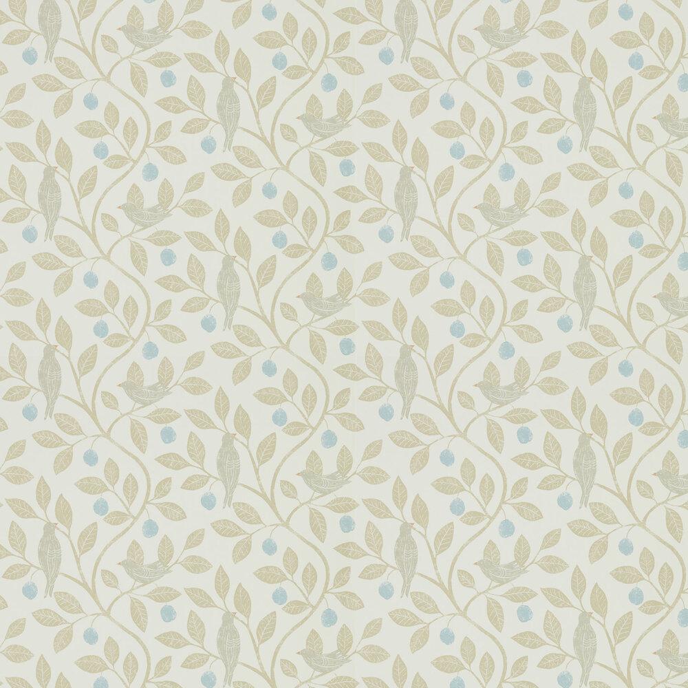 Damson Tree Wallpaper - Denim / Barley - by Sanderson