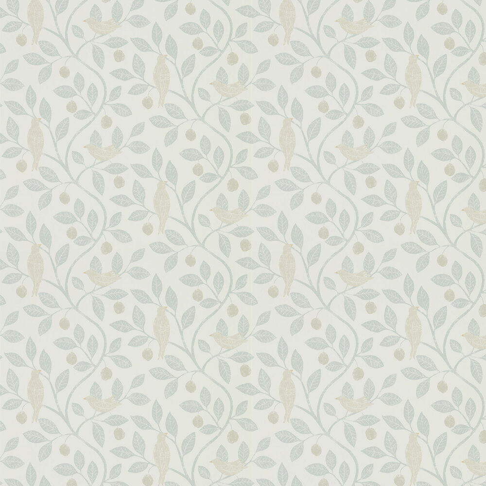 Damson Tree Wallpaper - Mineral / Dove - by Sanderson