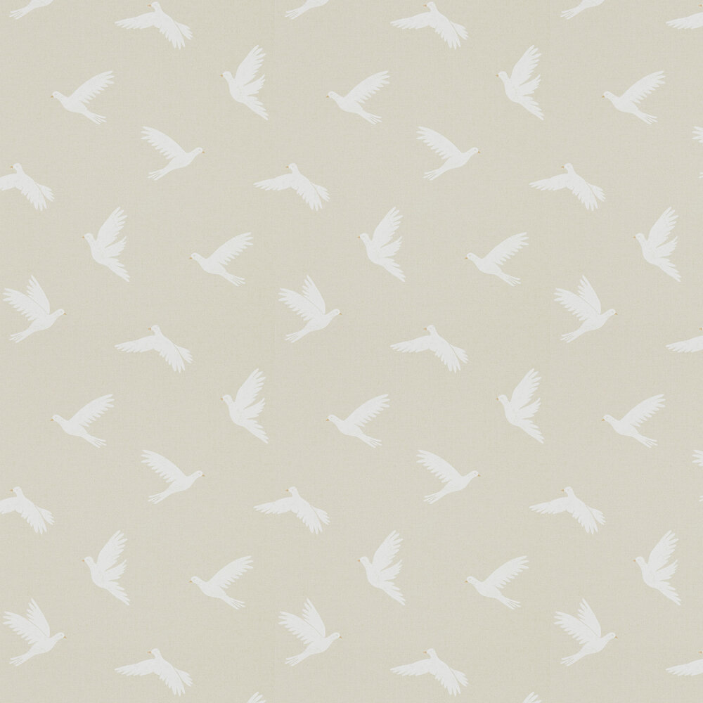 Paper Doves Wallpaper - Linen - by Sanderson