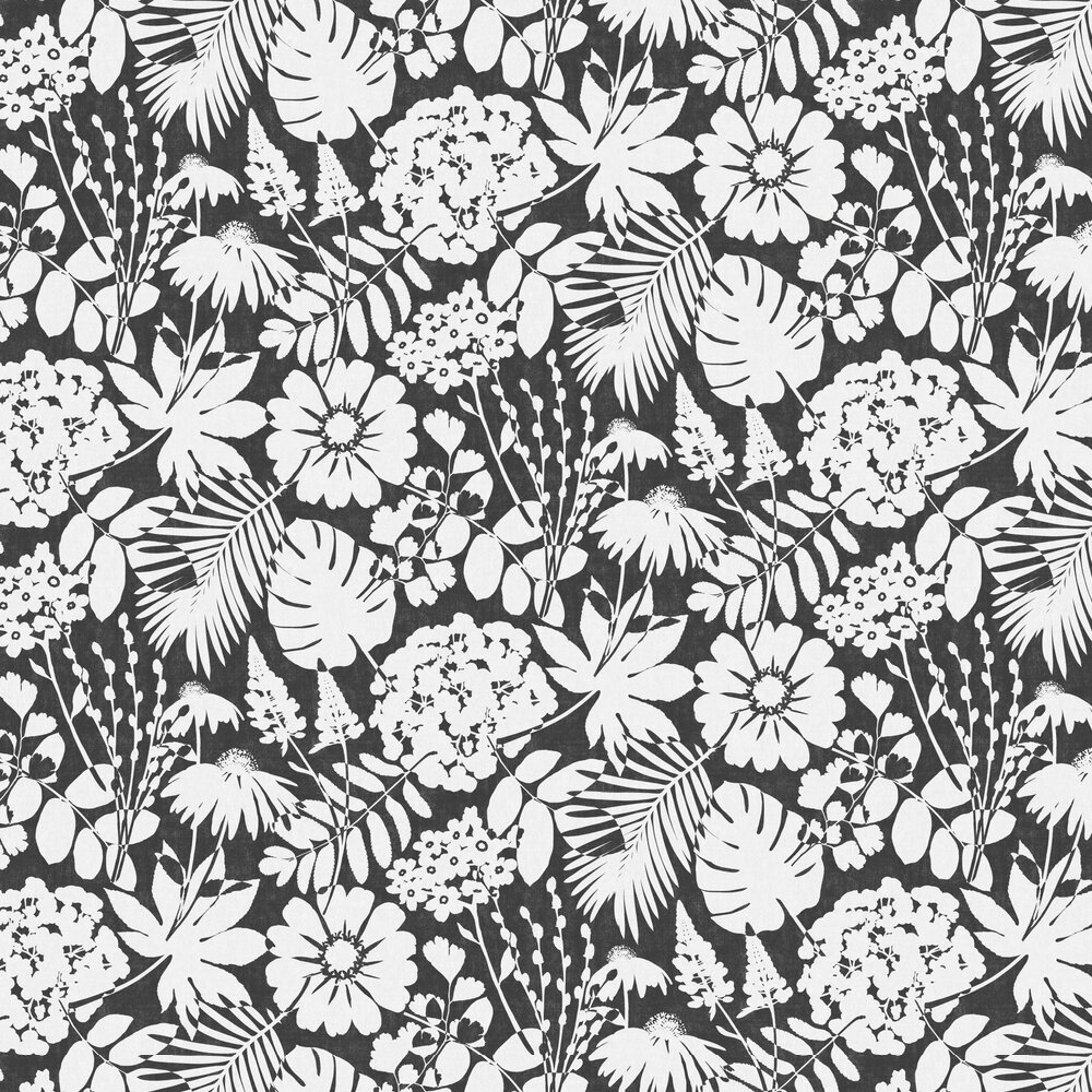 Bold Floral Wallpaper - Ebony - by Albany