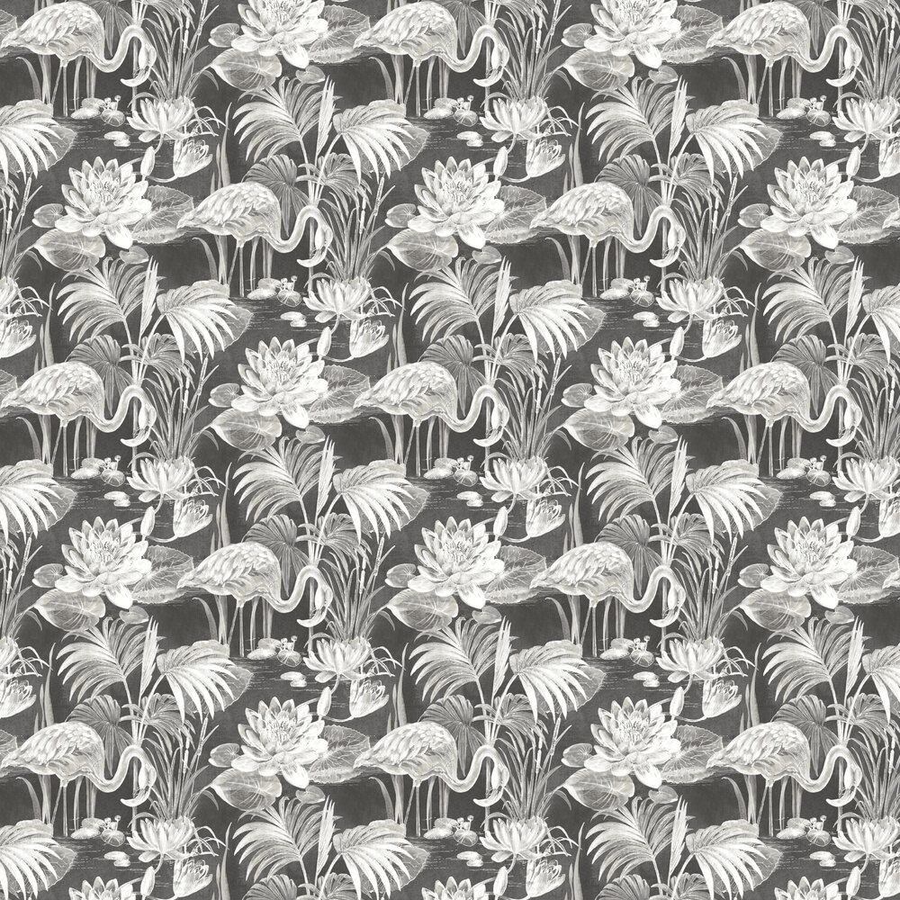 Lagoon Flamingo Wallpaper - Ebony - by Albany