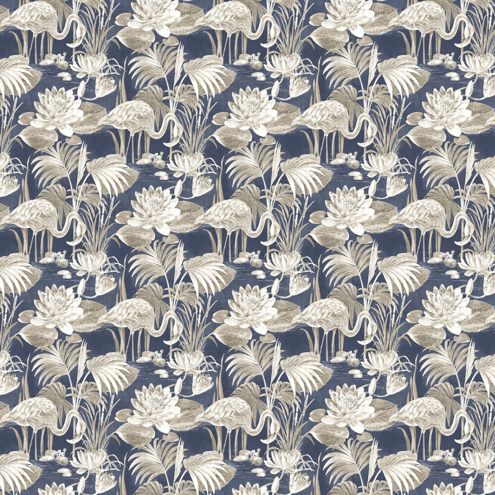 Lagoon Flamingo Wallpaper - Blue - by Albany