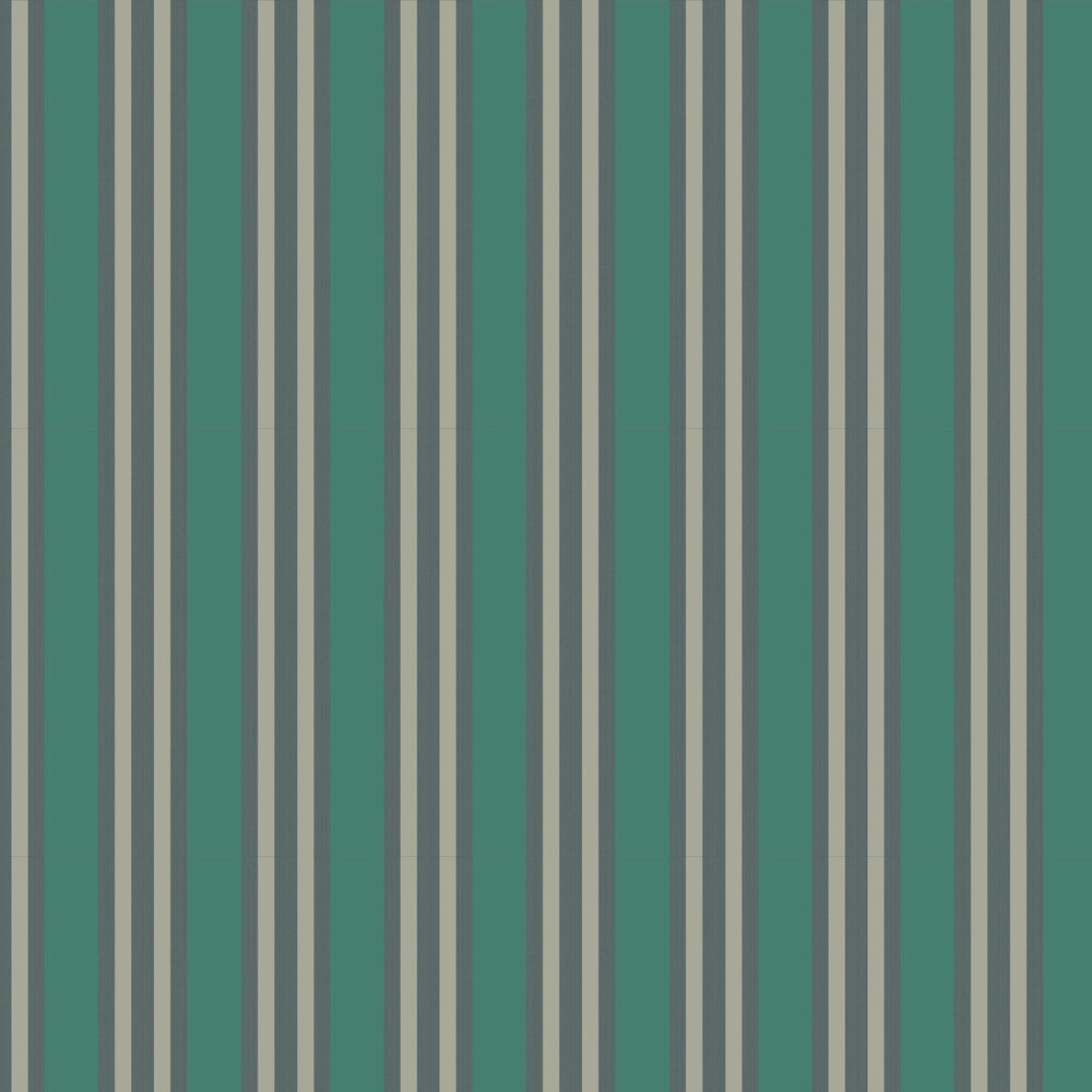 Polo Stripe Wallpaper - Teal & Gilver - by Cole & Son