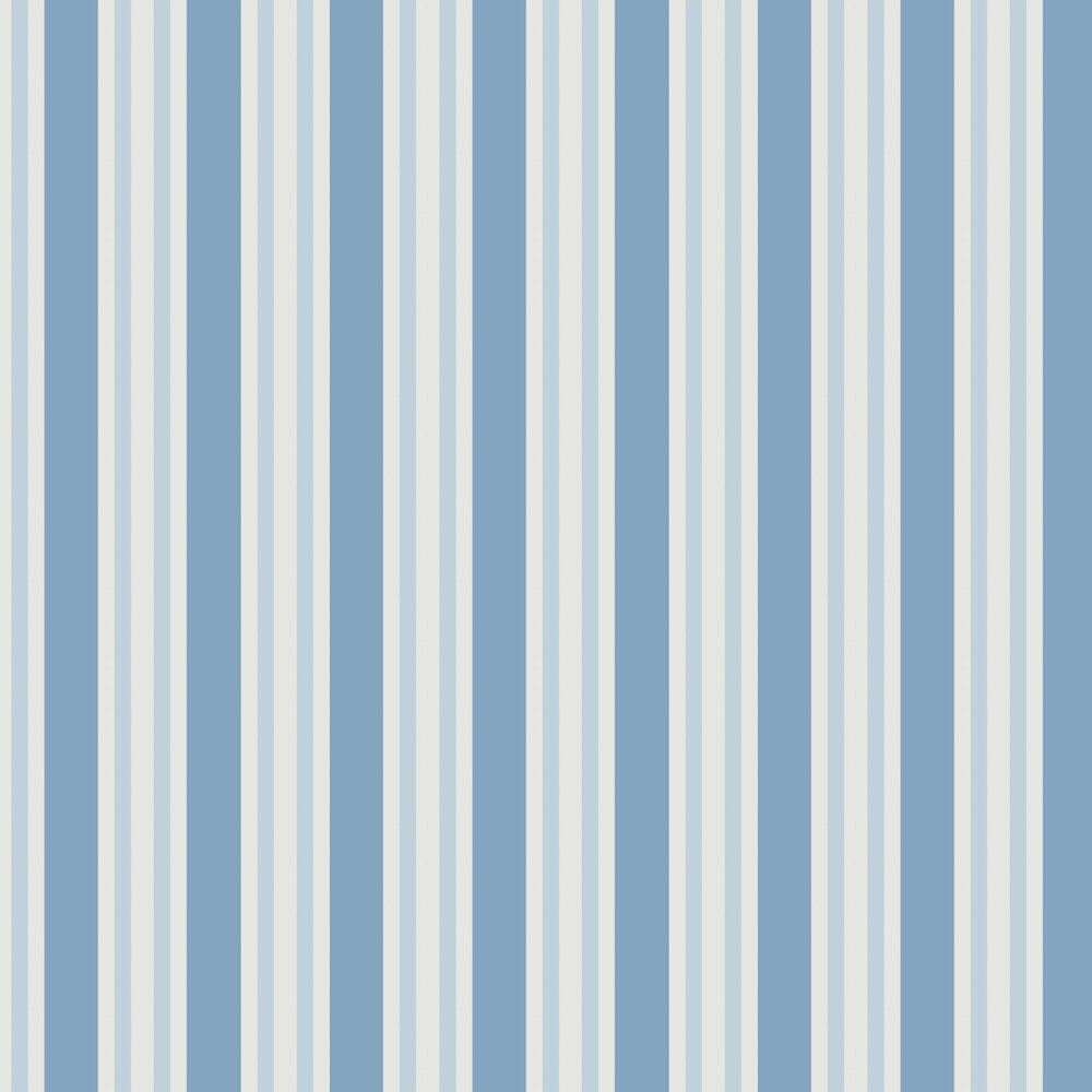 Polo Stripe Wallpaper - Blue - by Cole & Son