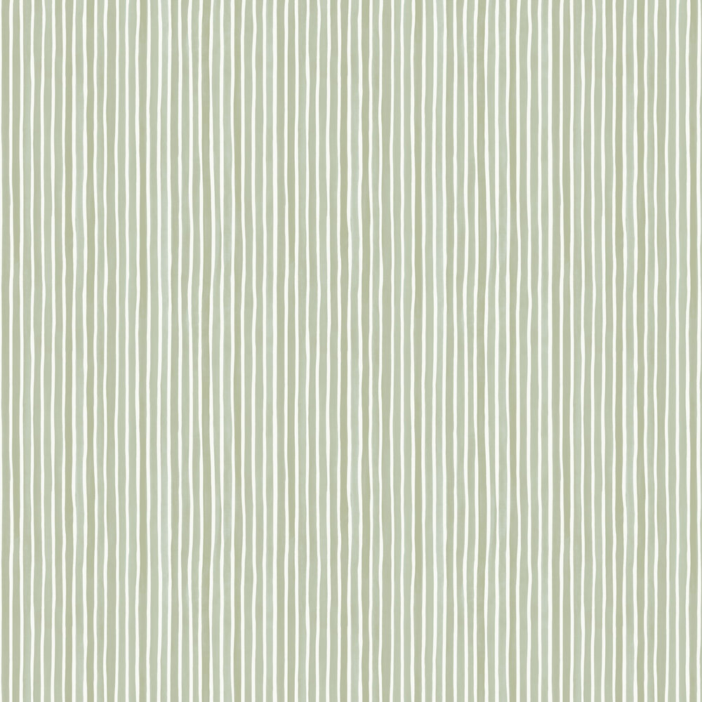 Croquet Stripe Wallpaper - Olive - by Cole & Son