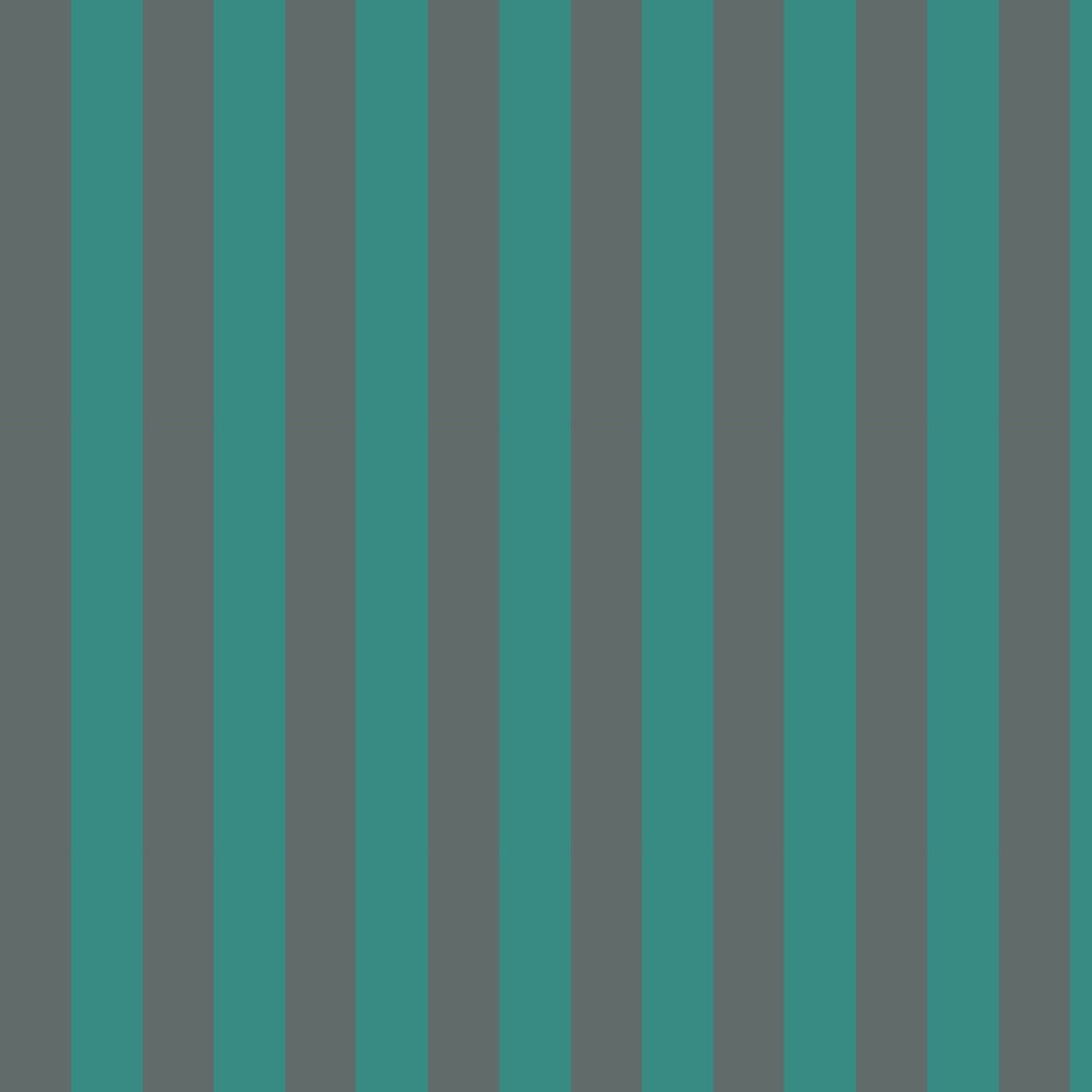 Glastonbury Stripe Wallpaper - Teal & Charcoal - by Cole & Son