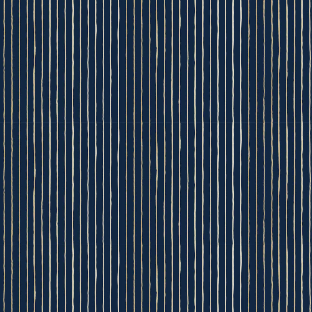 College Stripe Wallpaper - Ink - by Cole & Son