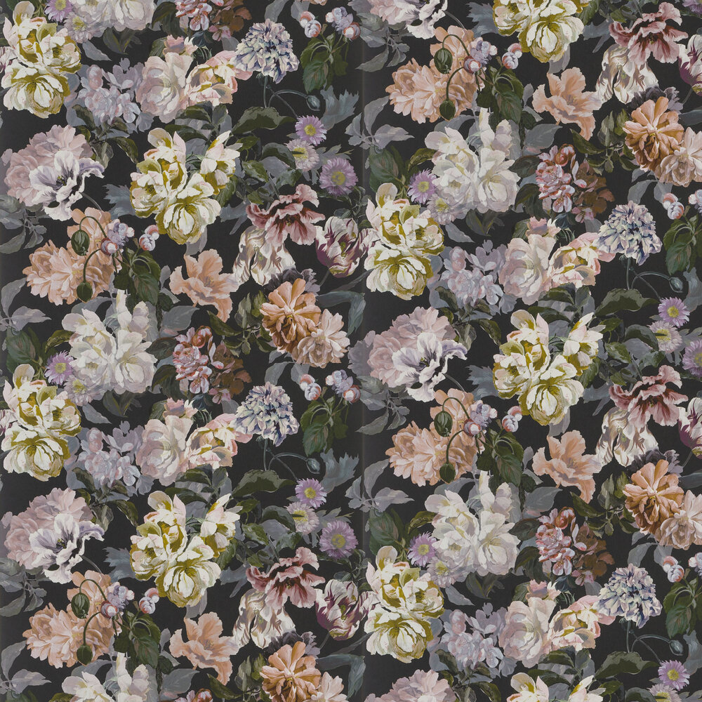 Delft Flower Wallpaper - Charcoal - by Designers Guild