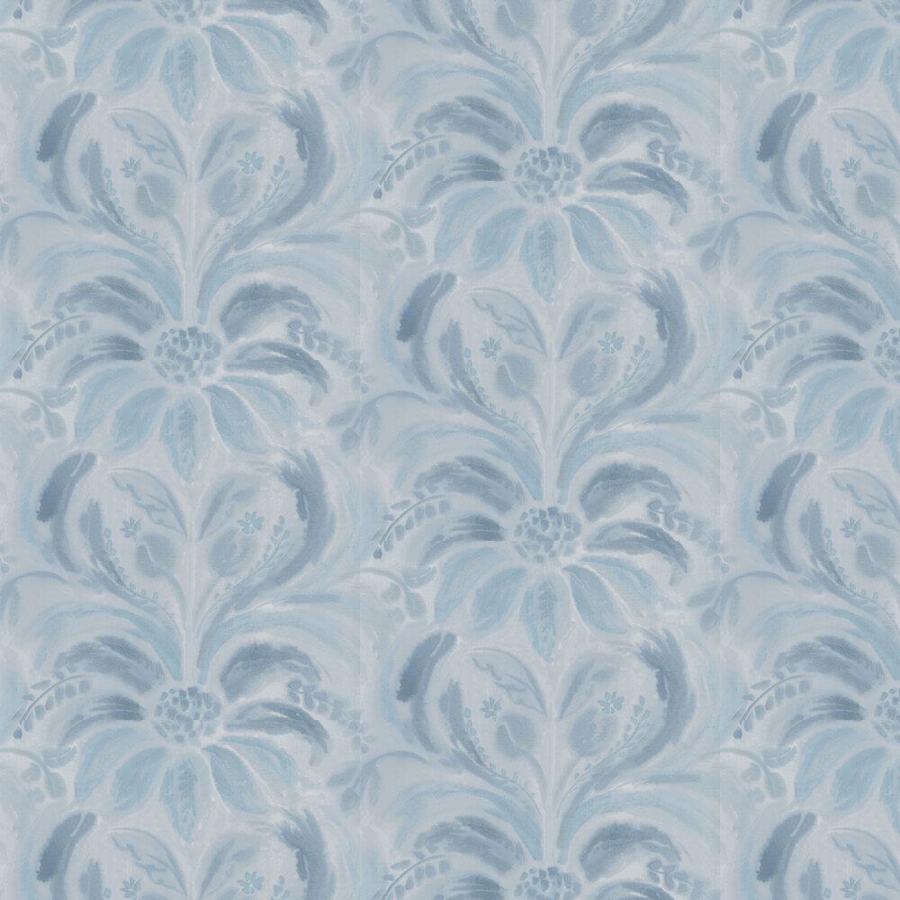 Angelique Damask Wallpaper - Indigo - by Designers Guild
