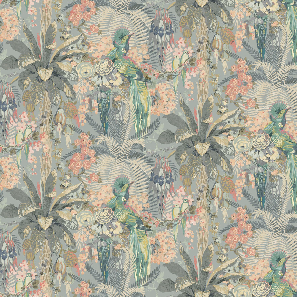Rainforest Rabble Wallpaper - Powder Blue - by Linwood
