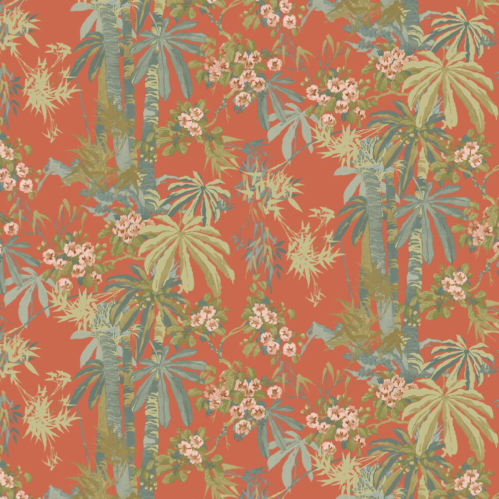 Bamboo Garden Wallpaper - Tomato - by Linwood