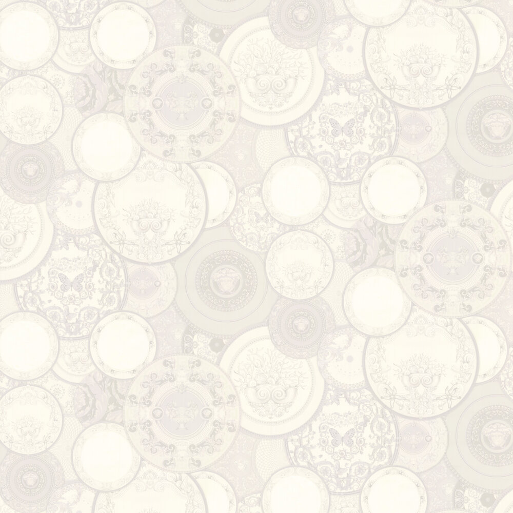 Decorative Plates Wallpaper - White - by Versace