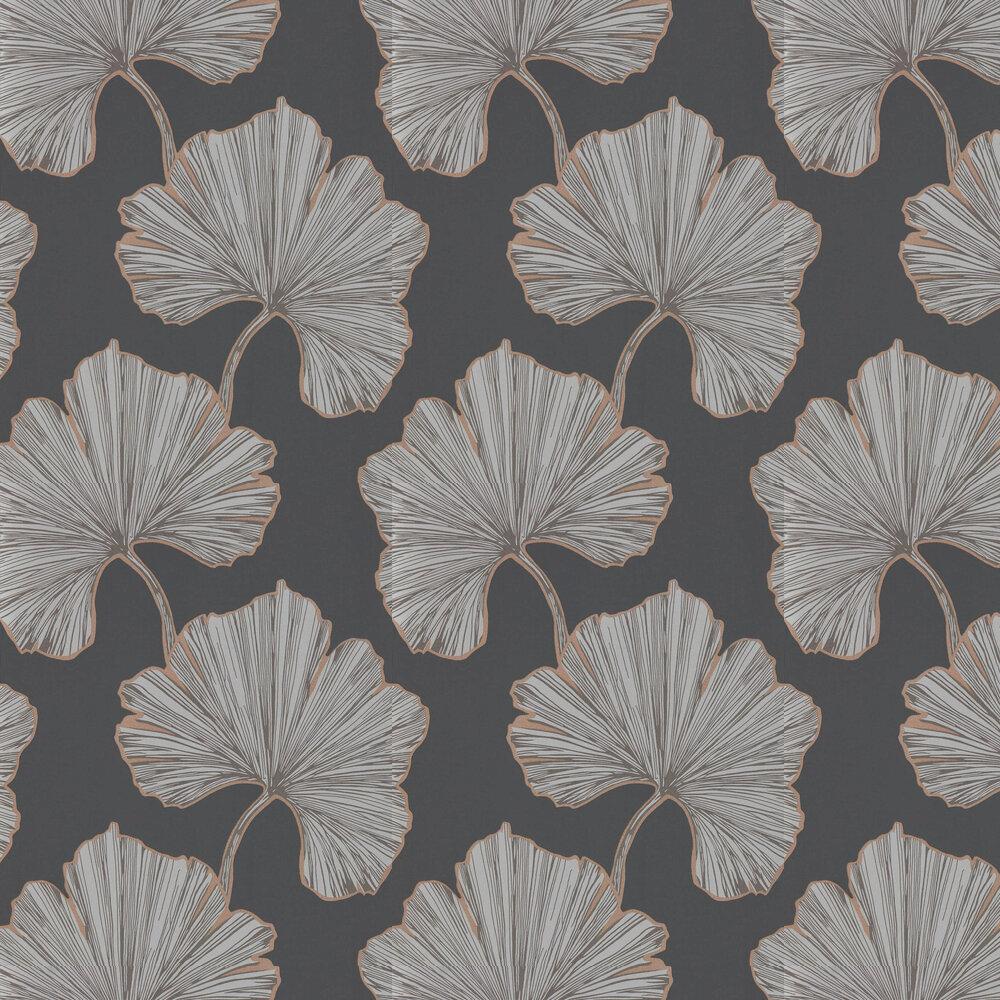 Azurea Wallpaper - Ebony & Rose Gold - by Harlequin