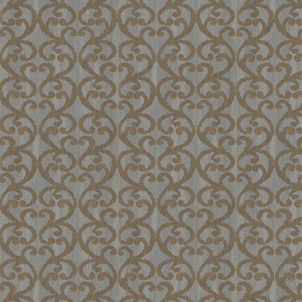 Baroc Wallpaper - Pewter - by Harlequin