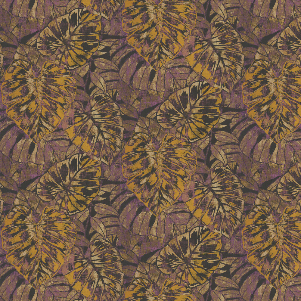 Leaves Wallpaper - Purple / Yellow - by Casadeco