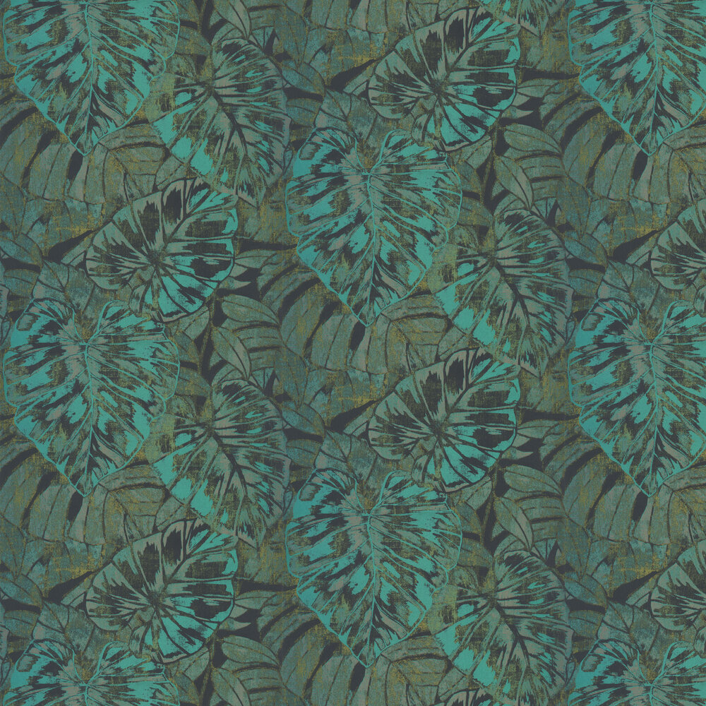 Leaves Wallpaper - Emerald - by Casadeco