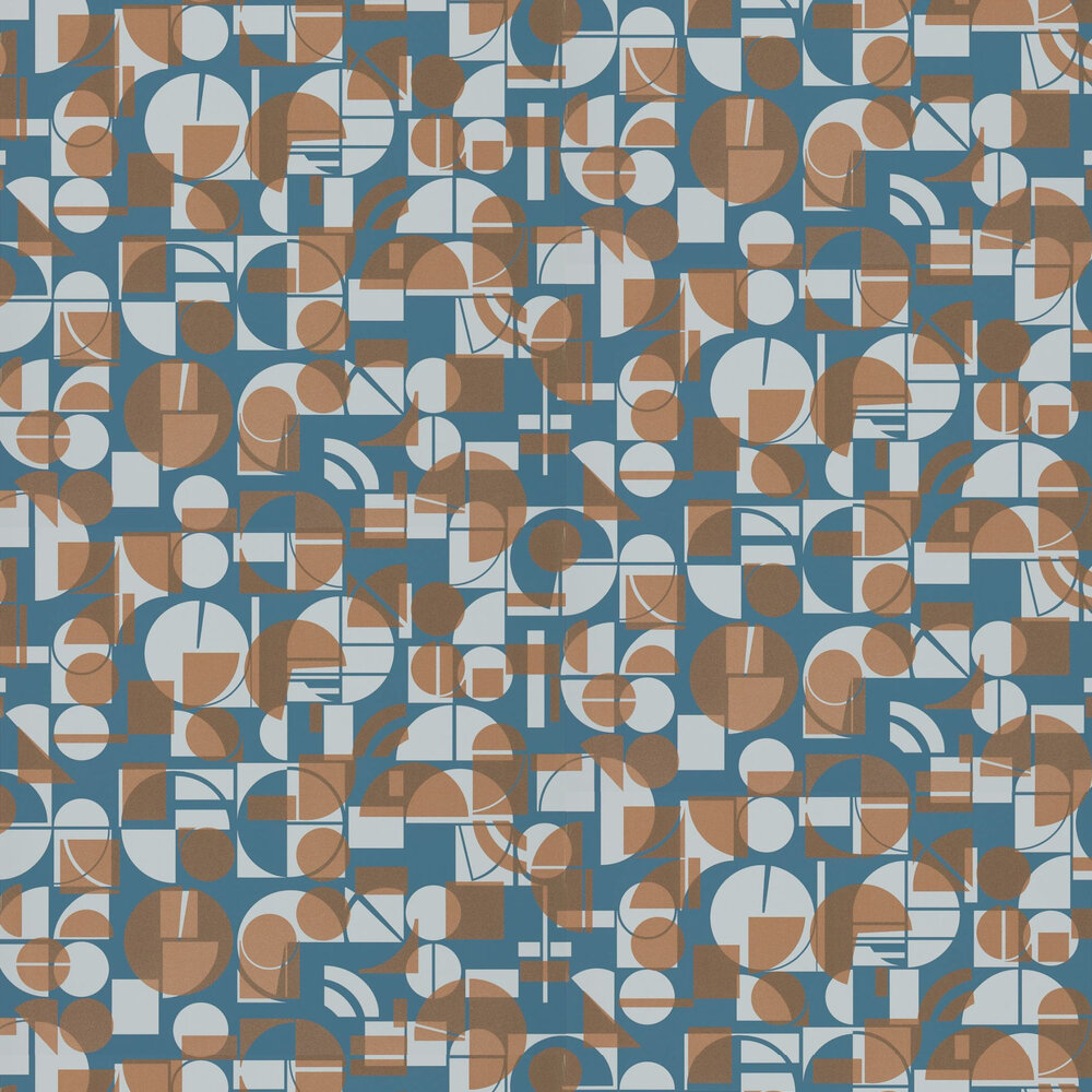 Segments Wallpaper - Ink and Copper - by Harlequin
