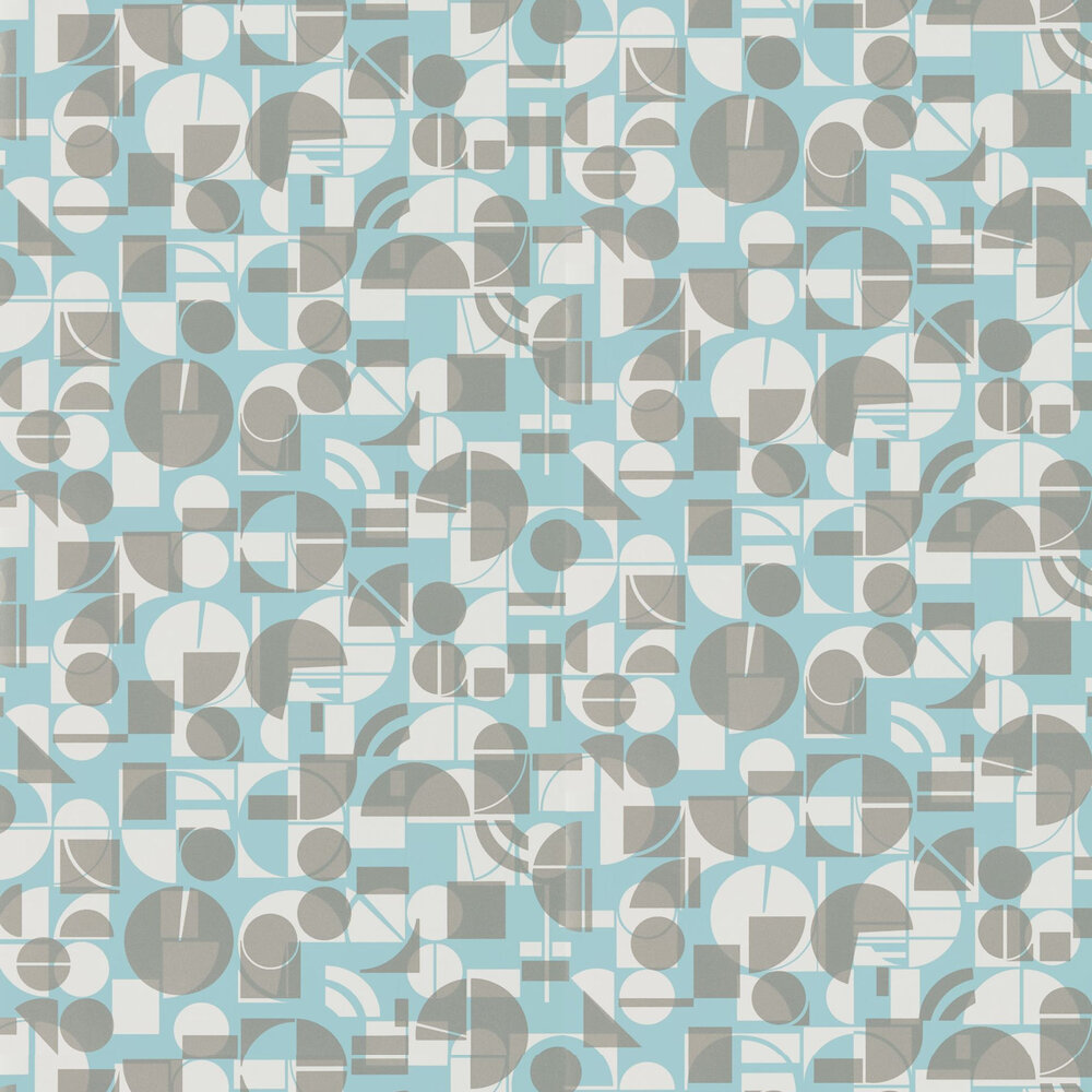 Segments Wallpaper - Teal and Chalk - by Harlequin