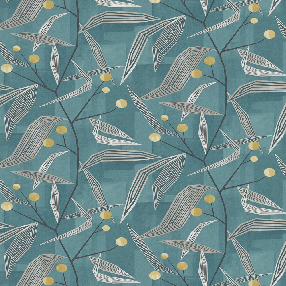Harlequin Entity Teal and Linden Wallpaper - Product code: 111691