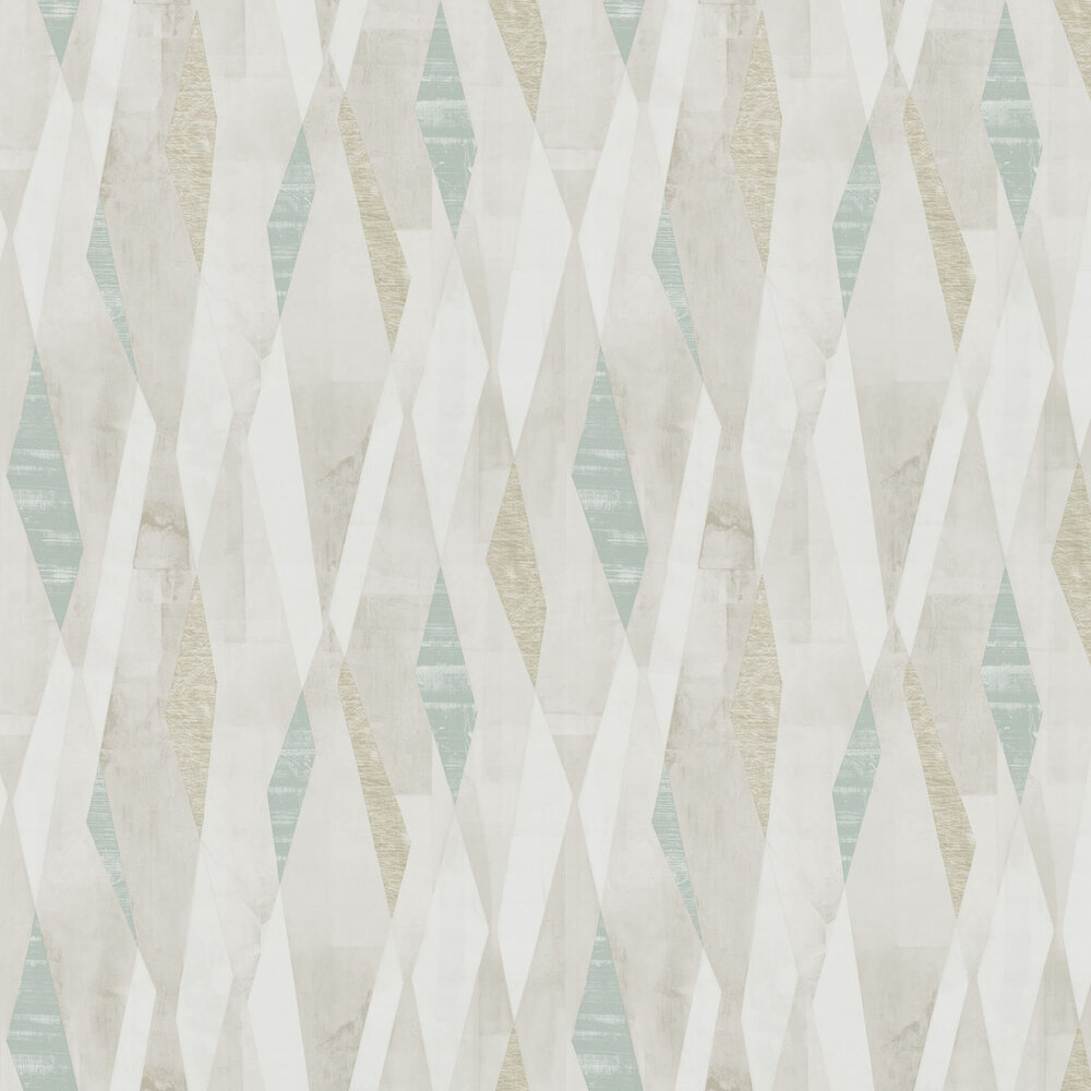 Vertices Wallpaper - Teal and Stone - by Harlequin