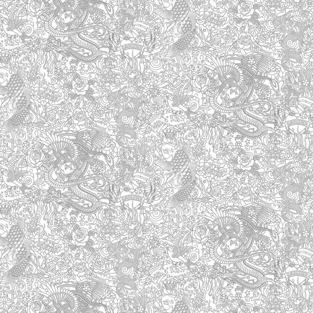 Jean Paul Gaultier Horimono Silver grey / White Wallpaper - Product code: 3303/01