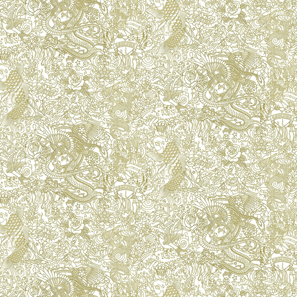 Horimono Wallpaper - Gold - by Jean Paul Gaultier