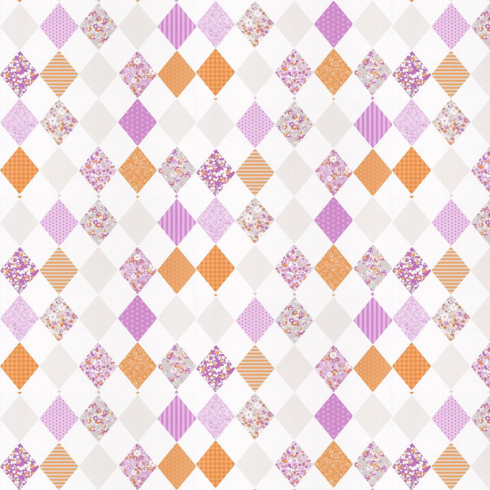 Diamond Wallpaper - Orange and Lilac - by Caselio