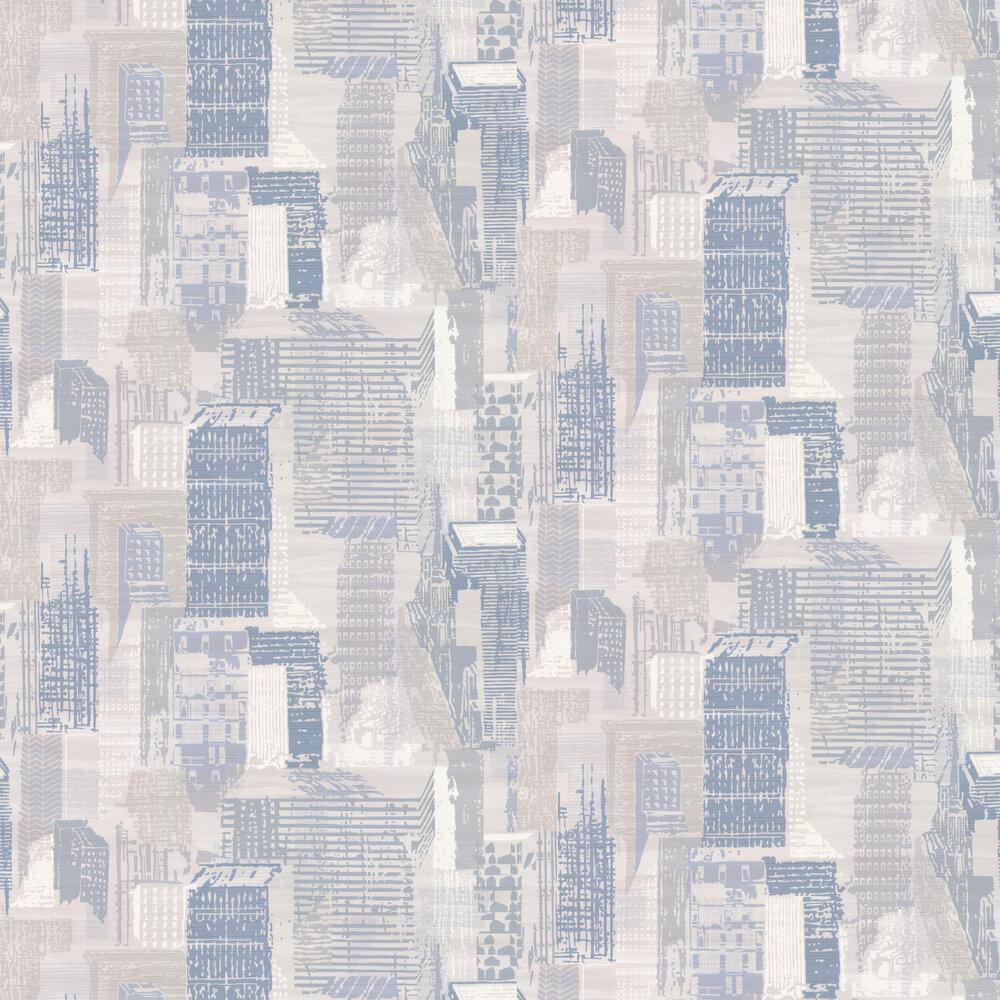 Cityscape Wallpaper - Silver / Blue - by Jane Churchill