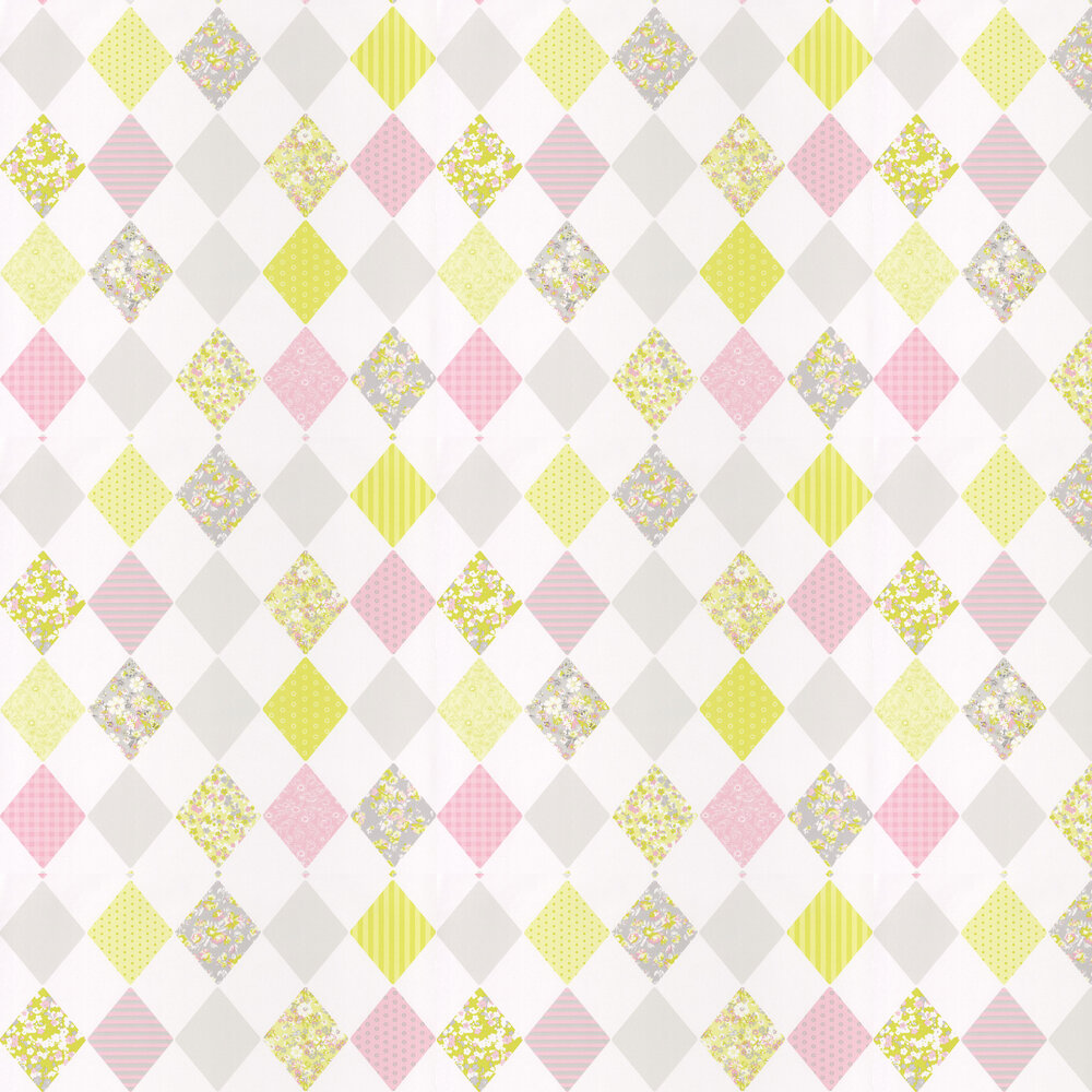 Diamond Wallpaper - Chartreuse and Pink - by Caselio