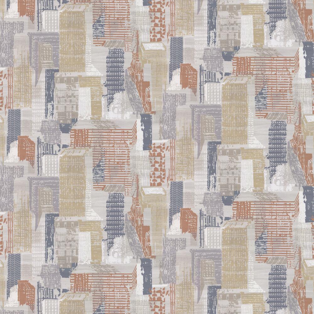 Jane Churchill Cityscape Grey / Copper Wallpaper - Product code: J171W-04
