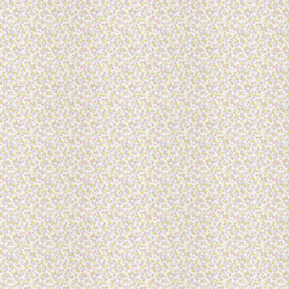 Caselio Lily Chartreuse, Pink and Grey Wallpaper - Product code: PRLI 6917 70 75