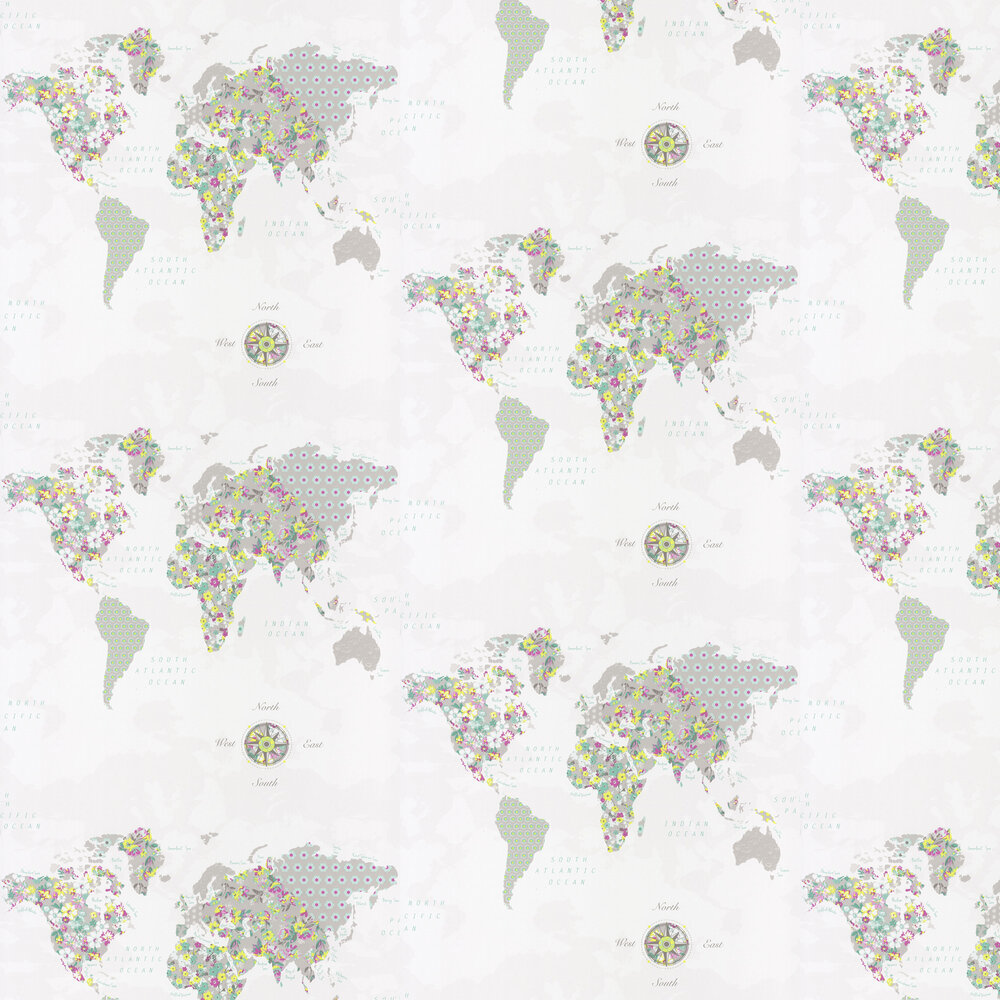 World Map Wallpaper - Spearmint, Chartreuse and Pink - by Caselio