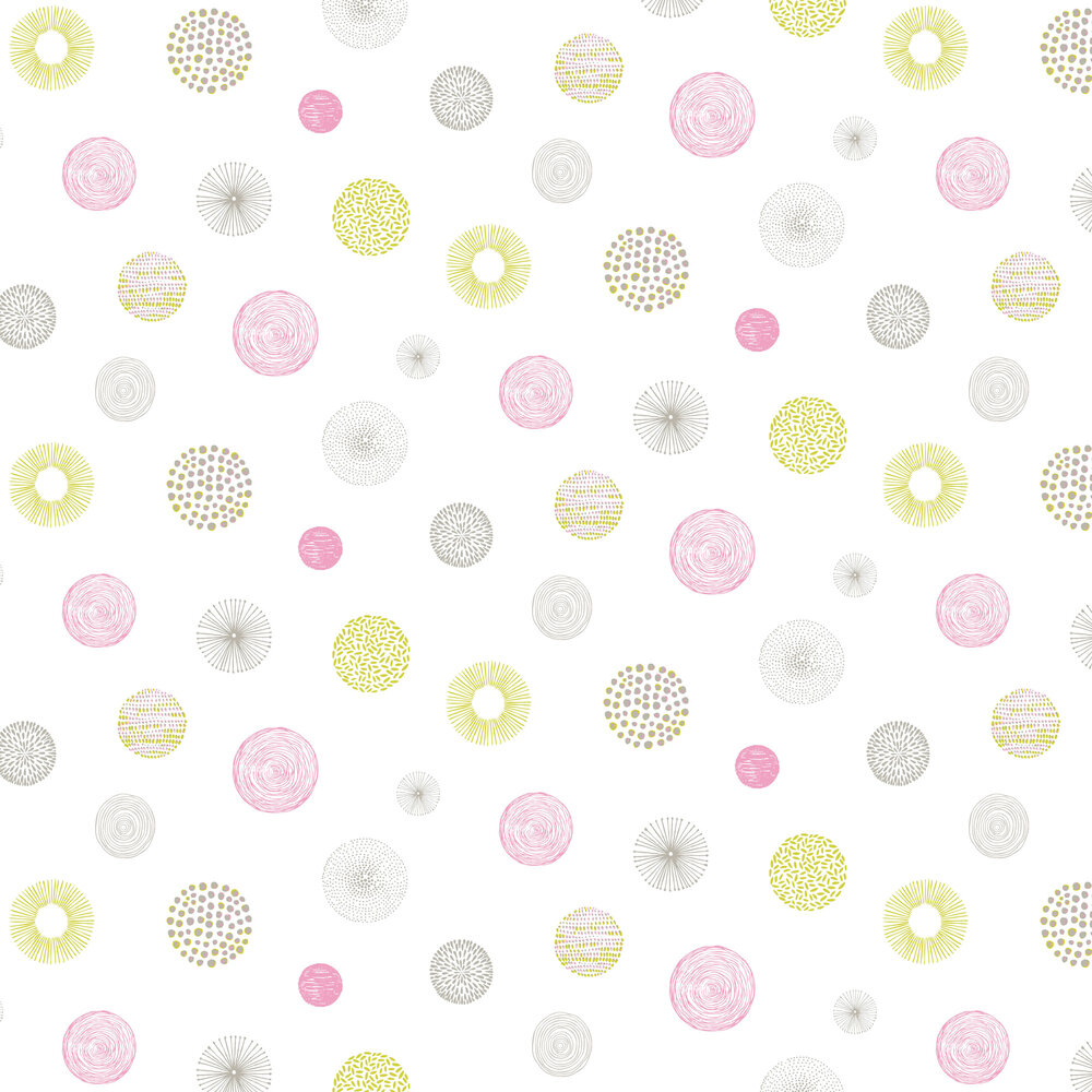 Graphic Circle Wallpaper - Chartreuse and Pink - by Caselio