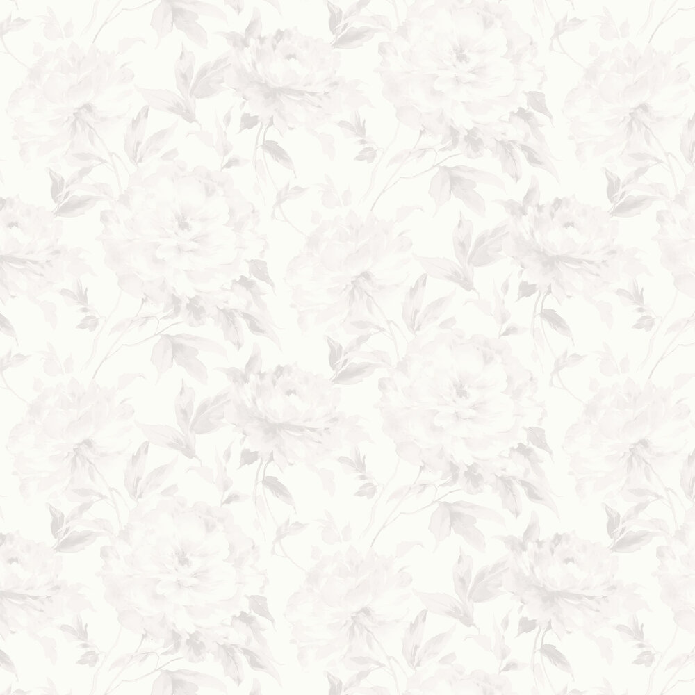 Grande Fleur Wallpaper - White and Grey - by Casadeco