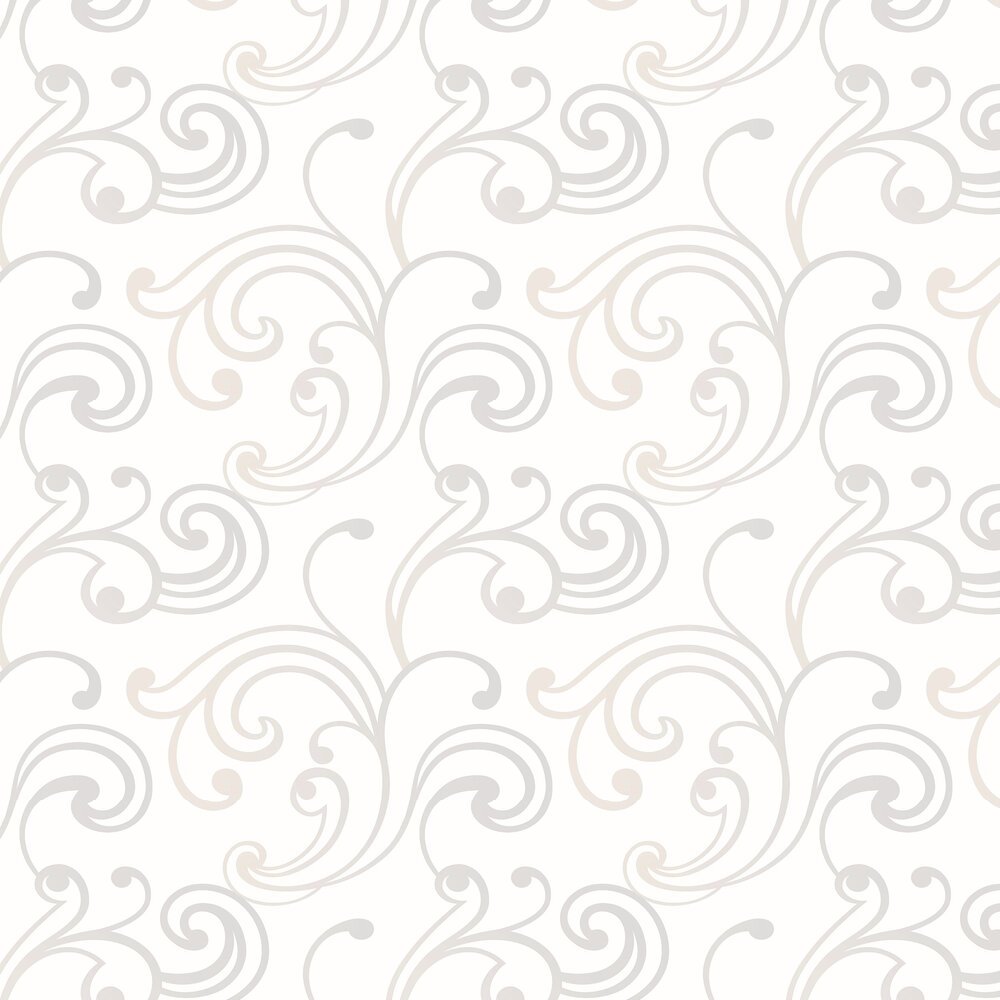 Casadeco Mirage Scroll White and Silver Wallpaper - Product code: SOWH 6781 00 10