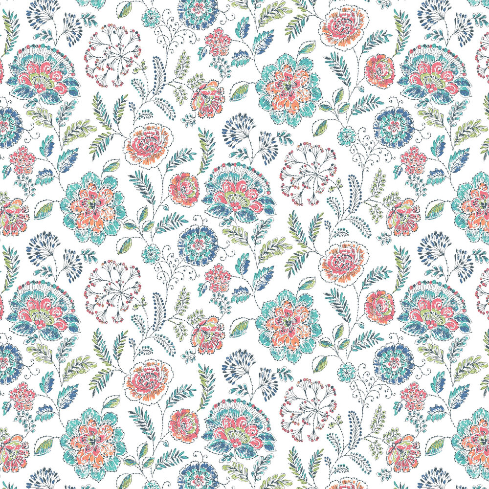 Tropez Floral Wallpaper - White/ Multi - by Albany