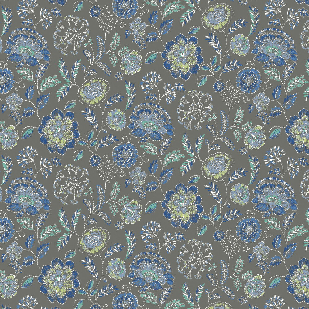 Tropez Floral Wallpaper - Dark Brown - by Albany