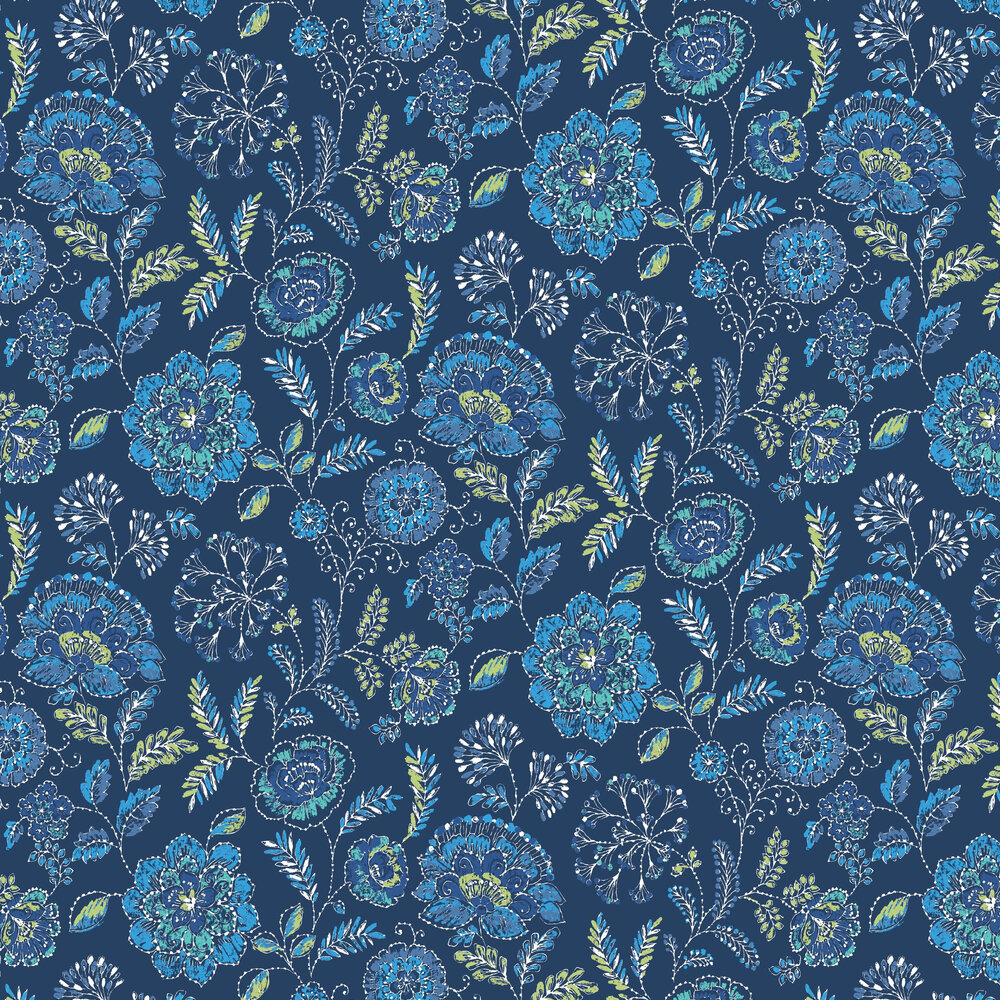 Tropez Floral By Albany Dark Blue Wallpaper Wallpaper Direct
