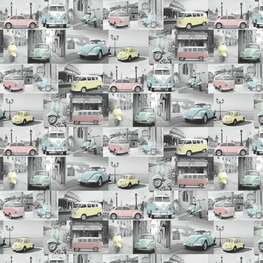 VW Collage Wallpaper - Pastel Multi - by Albany